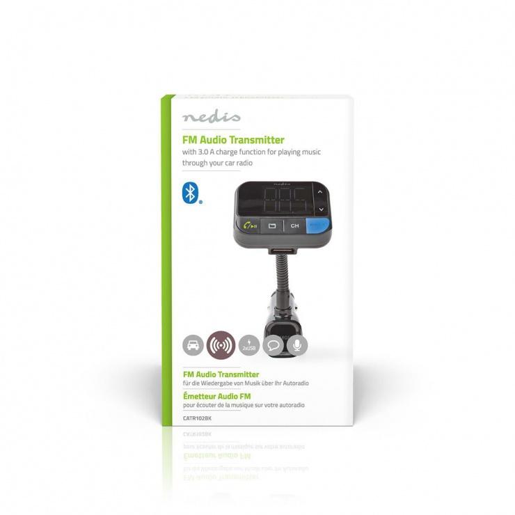 Imagine Incarcator auto 2 x USB 2.1A + modulator FM + Bluetooth + MicroSD, Nedis CATR102BK
