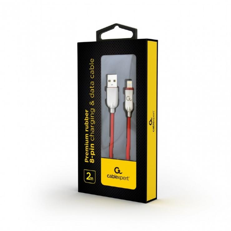 Imagine Cablu USB 2.0 la iPhone Lightning Premium 2m Rosu, Gembird CC-USB2R-AMLM-2M-R