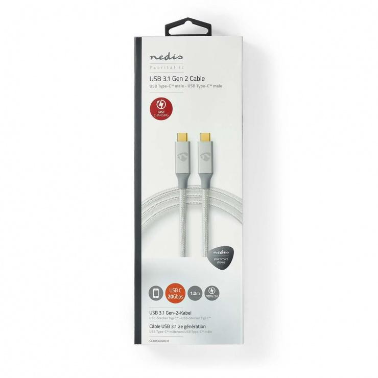 Imagine Cablu USB 3.2-C Gen 2 T-T 20Gb/s 5A/100W 1m brodat Argintiu, Nedis CCTB64020AL10