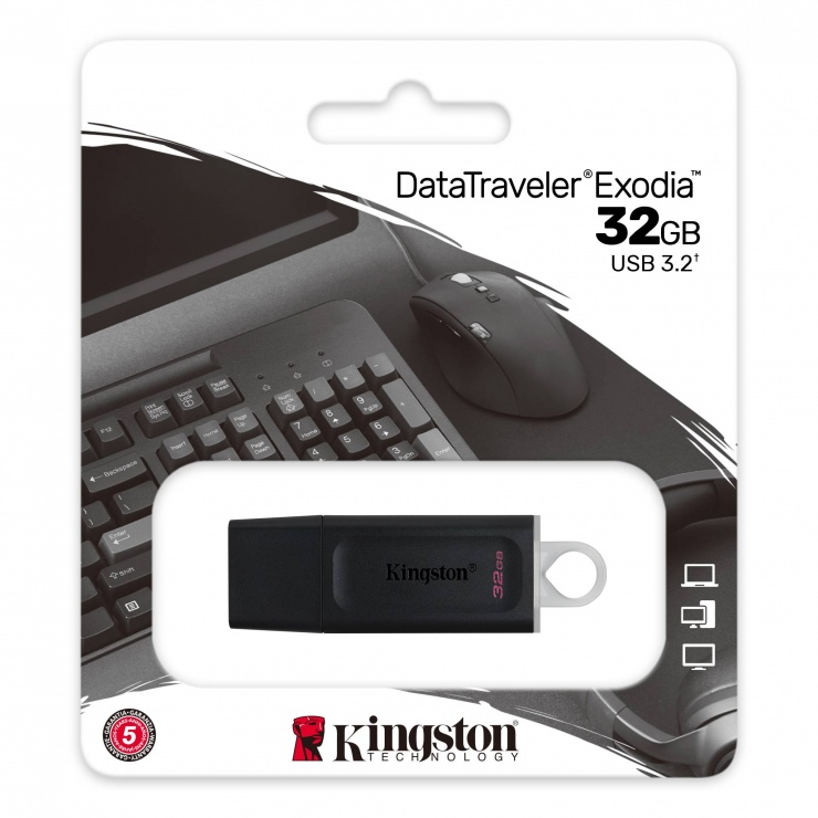 Imagine Stick USB 3.2 Gen1 Data Traveler Exodia 32GB Negru + Alb, Kingston DTX/32GB