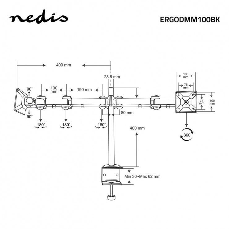 "Imagine Suport masa pentru 2 x monitoare 14 - 24"", ERGODMM100BK"