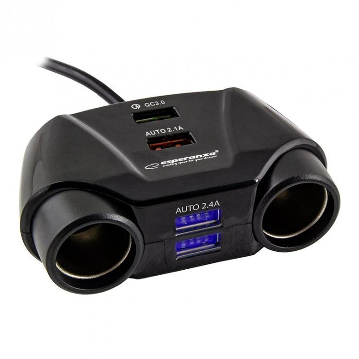 Imagine Incarcator auto 2 porturi bricheta + 4 x USB, ESP-EZ132