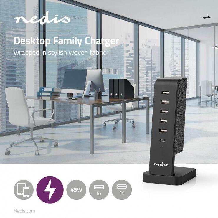 Imagine Incarcator priza 4 x USB-A 2.1A + 1 x USB-C 45W, Nedis FSCSPD110BK