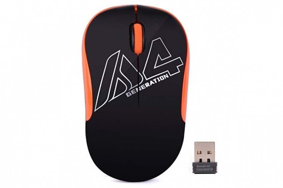Imagine Mouse wireless optic A4Tech Negru/Orange, G3-300N-BO