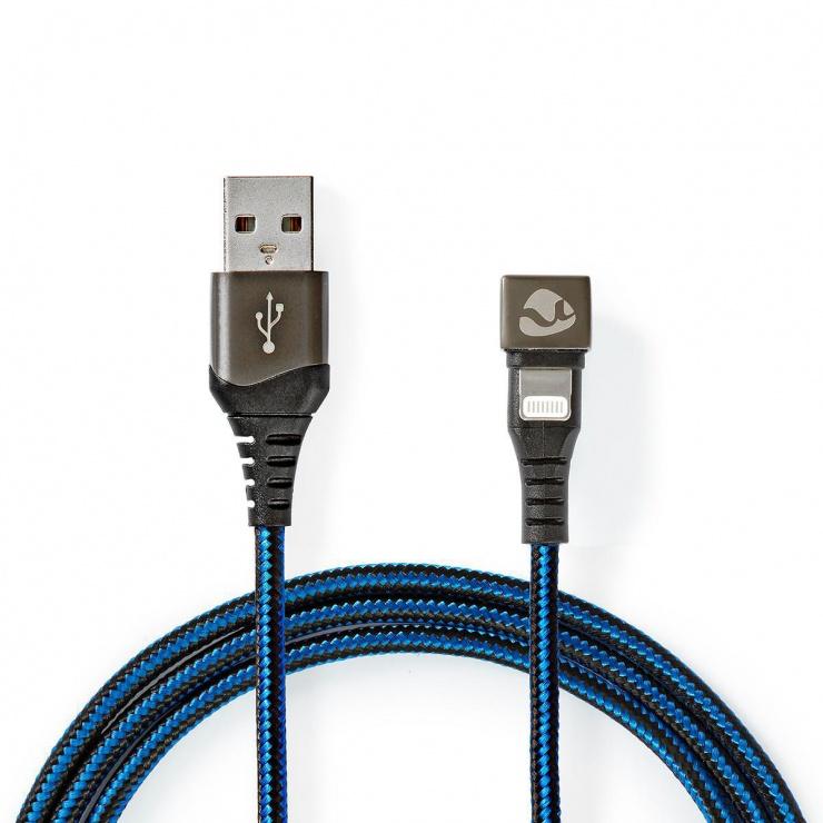 Imagine Cablu de date si incarcare USB-A la Apple Lightning MFI unghi 180 grade 2m, Nedis GCTB39300AL20