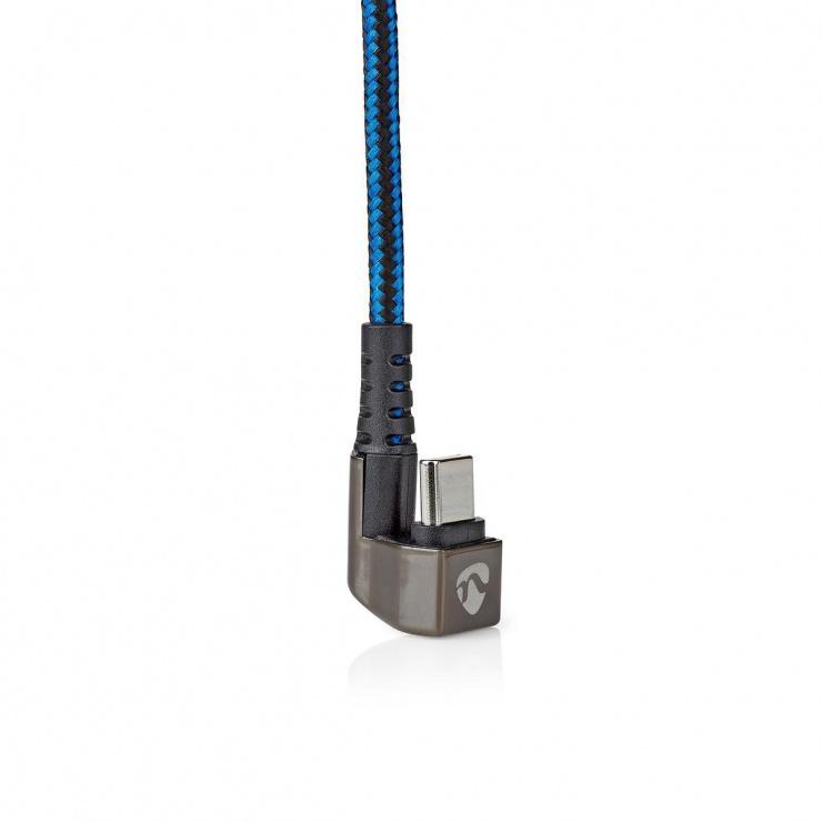 Imagine Cablu USB 2.0-A la USB-C unghi 180 grade 2m, Nedis GCTB60600BK20