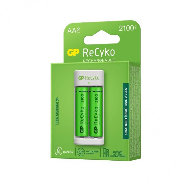 Imagine Incarcator NiMH (AA/AAA) + 2 acumulatori 2100 mAh AA (R6), GP Batteries GPACSE211001