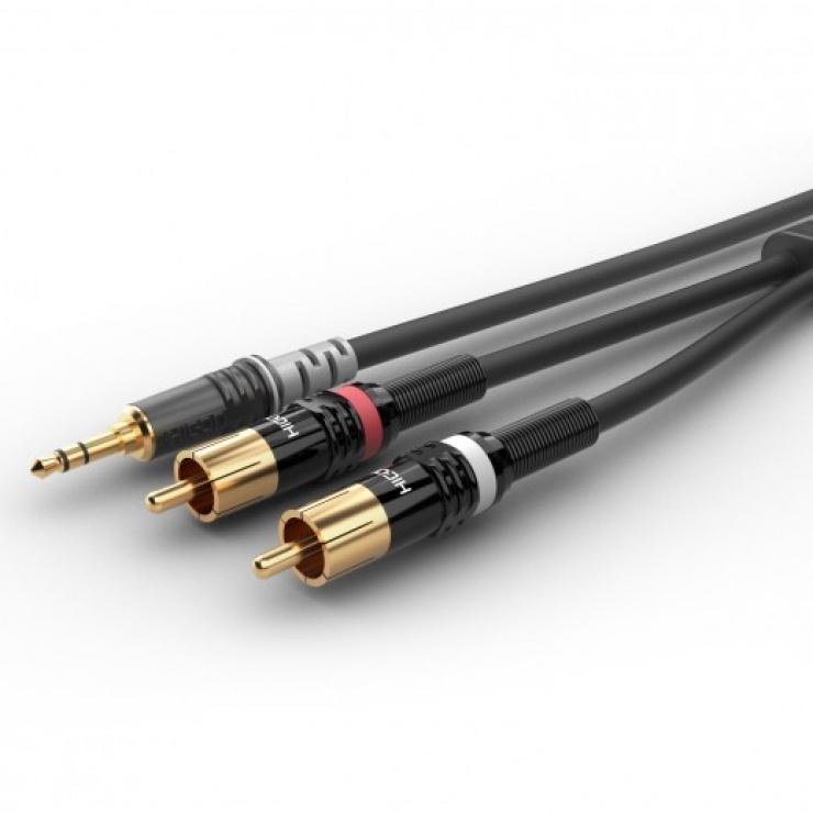 Imagine Cablu audio jack stereo 3.5mm la 2 x RCA T-T 0.3m, HBP-3SC2-0030