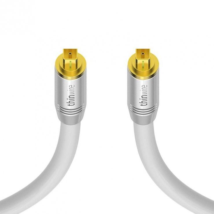 Imagine Cablu audio optic Toslink T-T 2m Alb, KOM-TW400020
