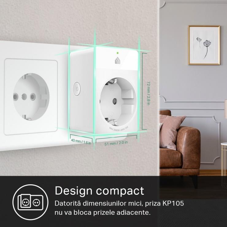 Imagine Priza inteligenta Schuko Wi-Fi 16A, TP-LINK KP105