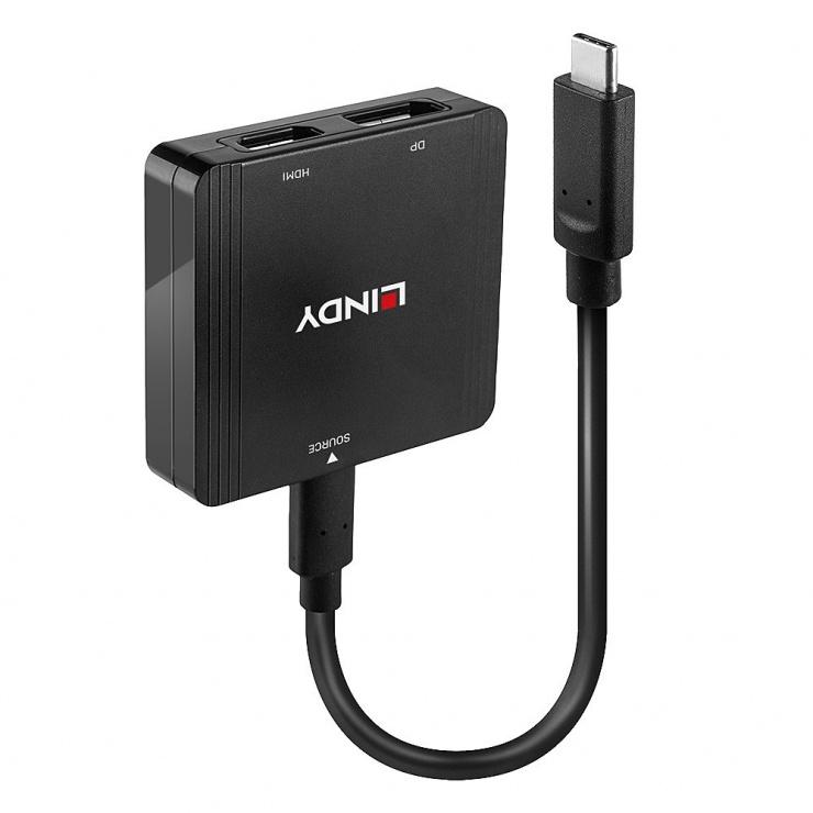 Imagine Adaptor USB-C la HDMI + DIsplayport 4K@60Hz T-M MST, Lindy L43304