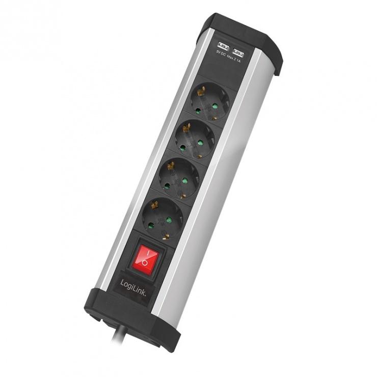 Imagine Prelungitor cu 4 prize Schuko cu switch + 2 x USB 2.1A, Logilink LPS236U