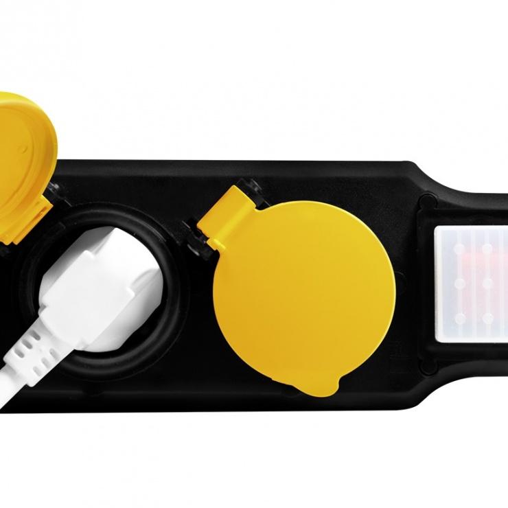 Imagine Prelungitor pentru exterior cu 3 prize Schuko 1.5m 16A + switch ON/OFF, Logilink LPS253
