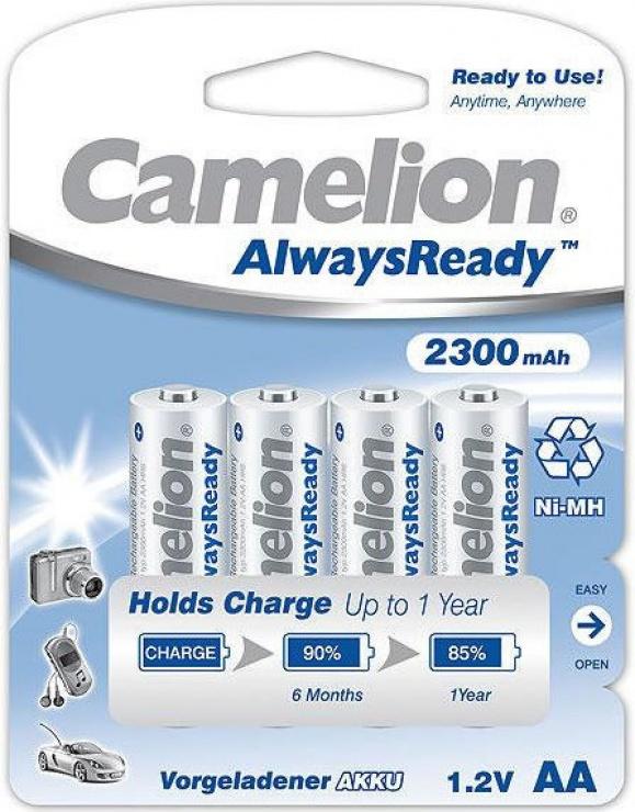 Imagine Set 4 Acumulatori Camelion Always Ready AA R6 2300mAh 1,2V Ni-MH