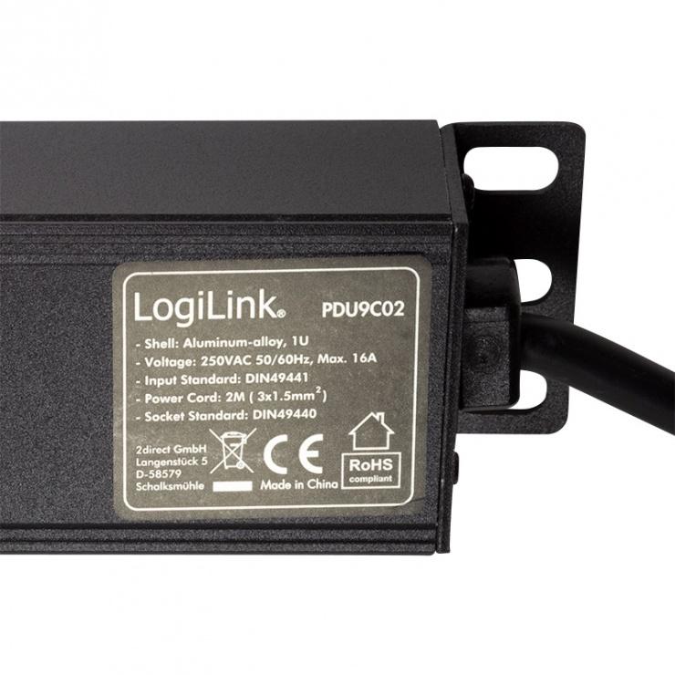 "Imagine Prelungitor PDU 19"" 9 prize Schuko 2m Switch ON/Off, Logilink PDU9C02"