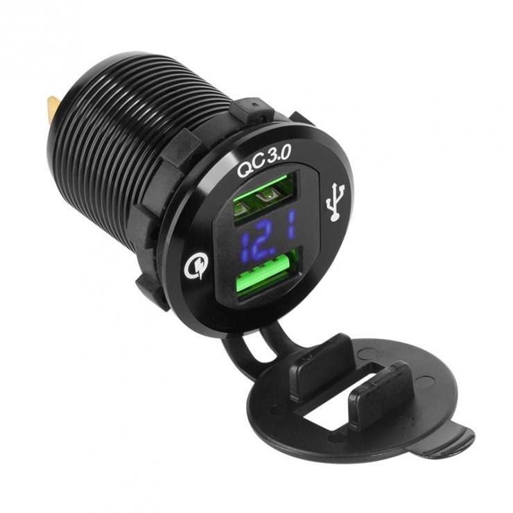 Imagine Mufa pentru montaj auto 2 x USB Quick Charge, PY-CHR0004