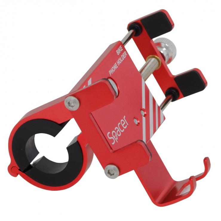 Imagine Suport smartphone pentru bicicleta, Spacer SPBH-METAL-RED