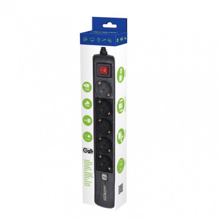 Imagine Prelungitor cu protectie 5 prize cu 2 x USB 1.5m, Energenie SPG5-U2-5