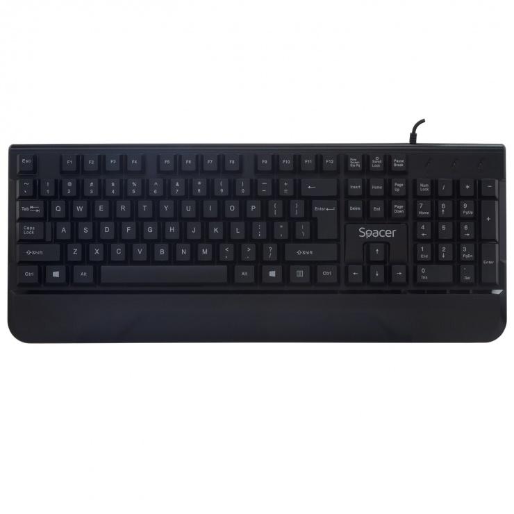 Imagine Kit Gaming tastatura + mouse USB Negru, Spacer SPGK-INVICTUS