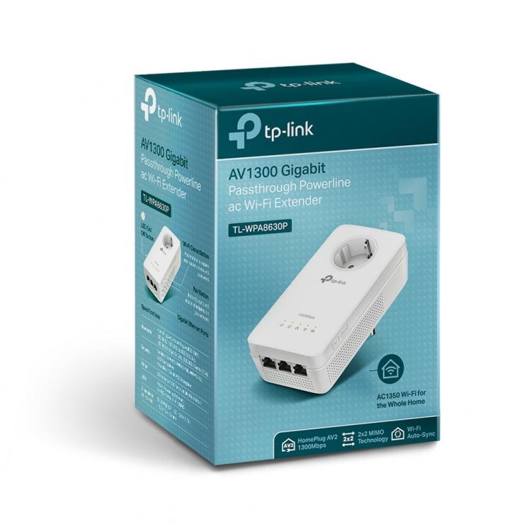 Imagine Amplificator Powerline Gigabit 3 porturi AV1300, TP-LINK TL-WPA8630P