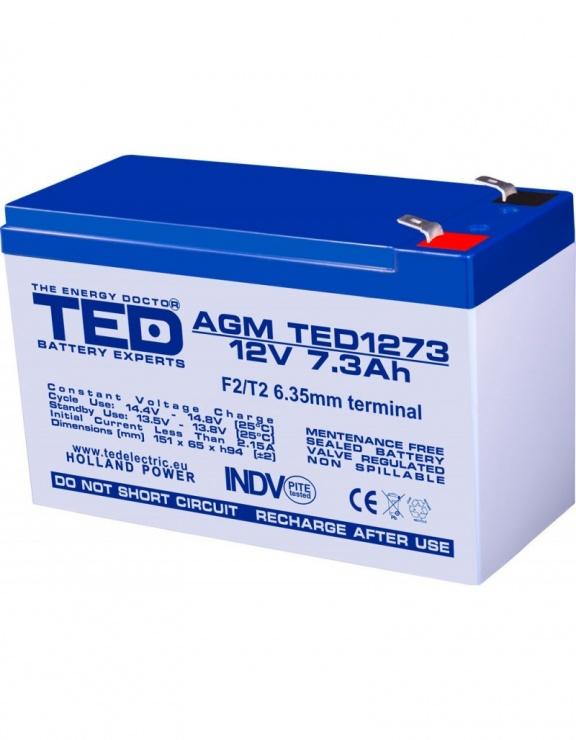 Imagine Acumulator pentru UPS AGM VRLA 12V 7.3A, TED1273
