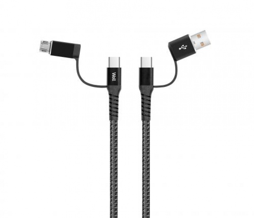 Imagine Cablu de incarcare si date 4 in 1 USB 2.0 Negru 1m, CABLE-USBC/USBC/U-1GY02-WL