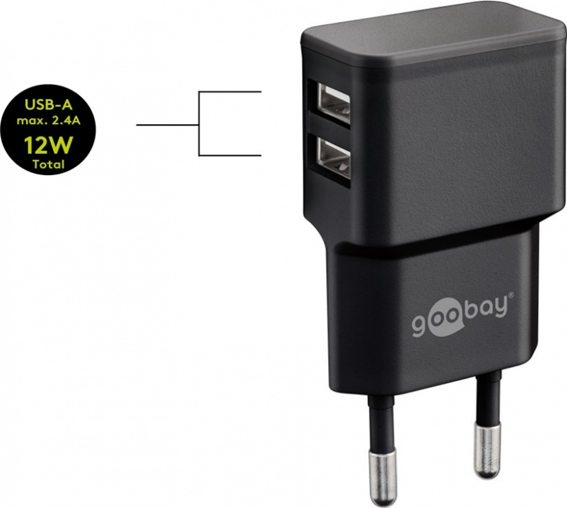 Imagine Incarcator priza 2 x USB 2.4A Negru, Goobay 44951
