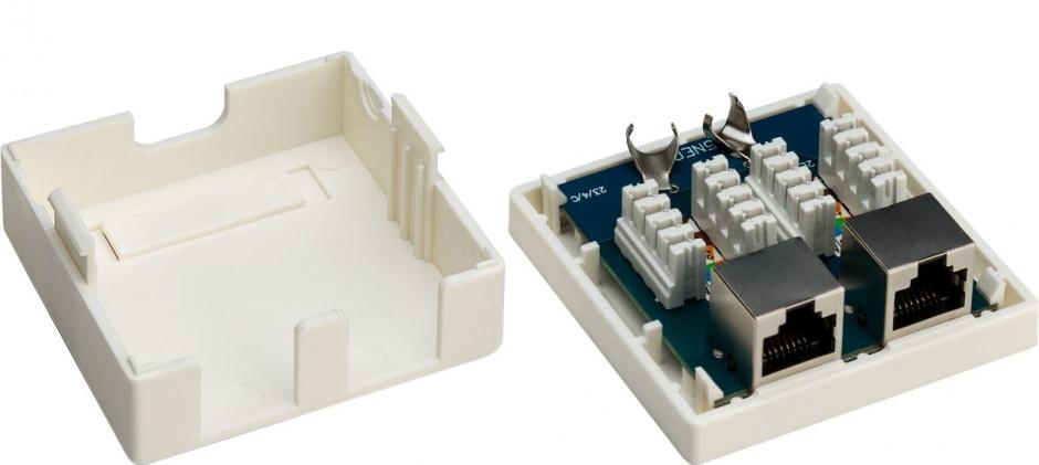 Imagine Priza aplicata retea RJ45 2 porturi cat 6 STP, Goobay G77635