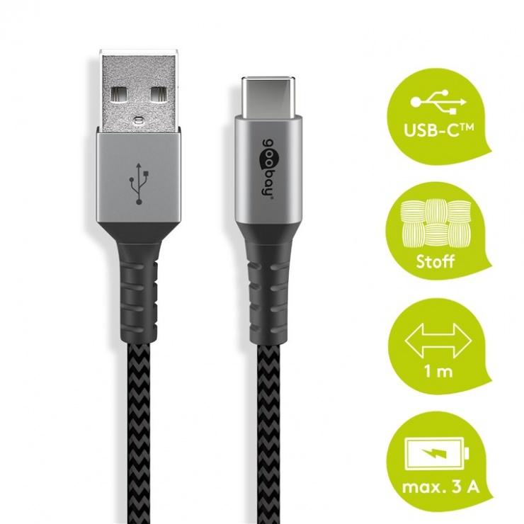 Imagine Cablu USB 2.0-A la USB type C T-T 1m, Goobay G49296