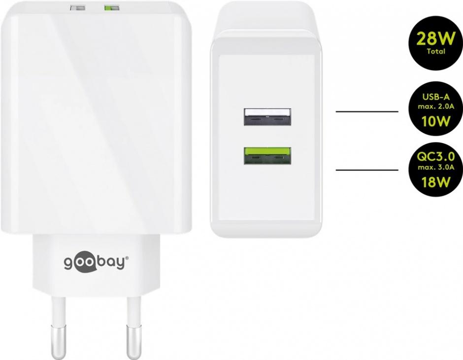 Imagine Incarcator priza 2 x USB Quick Charge 3.0 2A/28W Alb, Goobay 44957