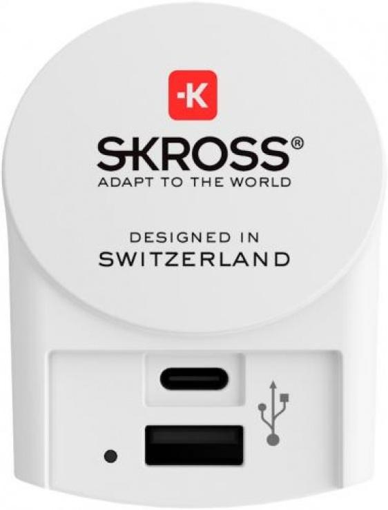 Imagine Incarcator priza 1 x USB-A + 1 x USB-C, Skross PSUP-USB-W254WE-SKRS