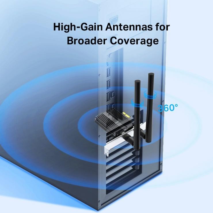 Imagine Adaptor PCI Express AX3000 Wi-Fi 6 Bluetooth 5.0, TP-LINK Archer TX50E