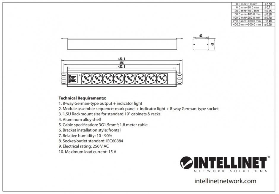 Imagine Prelungitor PDU Schuko cu 8 prize 1.6m 16A, Intellinet 714037