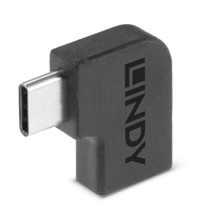 Imagine Adaptor USB 3.2 Gen 2x2 Type C unghi 90 grade T-M, Lindy L41894