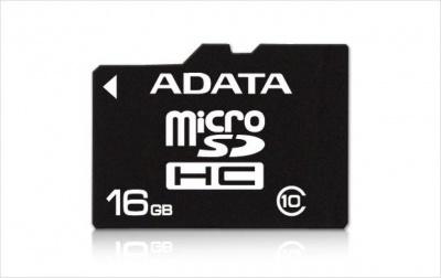 Imagine Card memorie micro SDHC 16GB clasa 10, ADATA AUSDH16GUICL10-R