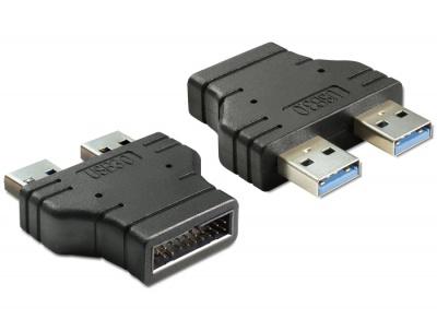 Imagine Adaptor USB 3.0 pin header tata la 2 x USB 3.0-A tata paralel, Delock 65398