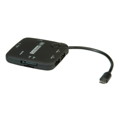 Imagine Cititor de carduri + Hub USB 2.0 OTG, Roline 15.08.6254-1
