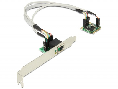 Imagine MiniPCIe I/O PCIe half size la un port Gigabit LAN, Delock 95239