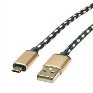 Cablu USB la micro USB-B 2.0 reversibil GOLD T-T 1.8m, Roline 11.02.8828
