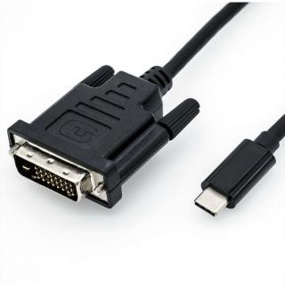 Cablu USB tip C la DVI T-T 2m Negru, Roline 11.04.5831