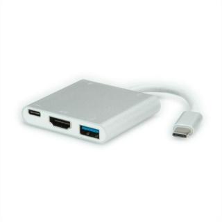 Adaptor USB 3.1 tip C la 1 x HDMI, 1 x USB 3.0, 1 x conector alimentare (PD), Roline 12.02.1131