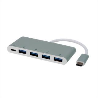 HUB USB 3.1 tip C la 4 x USB + alimentare USB-C (PD), Roline 14.02.5045