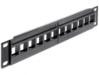 """Patch Panel 10"""" pentru keystone 12 porturi negru, Delock 43259"""