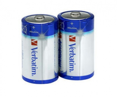 Set 2 baterii tip D alcaline, Verbatim 49923