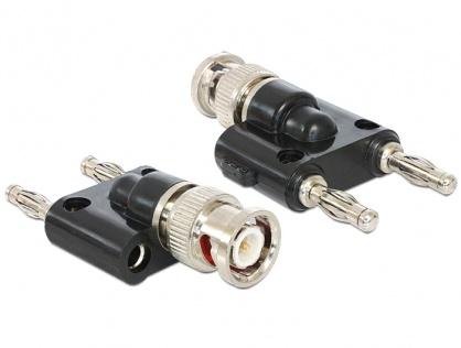 Adaptor BNC la 2 x 4 mm Banana T-T (spring connector), Delock 88572