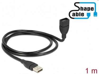 Cablu prelungitor USB 2.0-A ShapeCable 1m T-M Negru, Delock 83500
