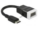Adaptor mini HDMI-C la VGA cu Audio Negru T-M 15cm, Delock 65588