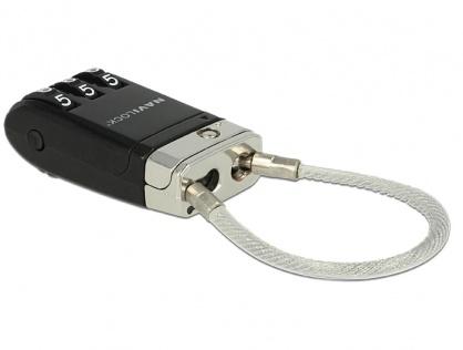Cablu pentru blocarea portului USB cu cifru, Navilock 20647