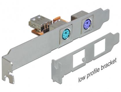 Rear bracket USB la 2 x PS/2, Delock 61589