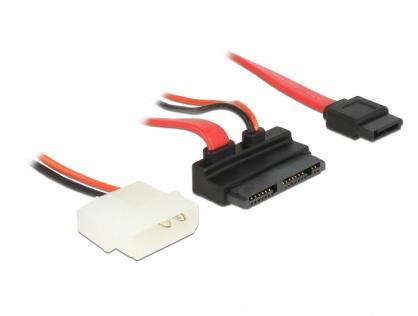 Cablu Micro SATA la SATA 7 pini + alimentare 2 pini unghi 5V 60cm, Delock 83912